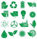 Ecology Green icons set Royalty Free Stock Photos