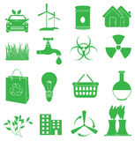 Ecology Green icons set Royalty Free Stock Photography