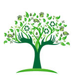 Ecology green icons tree with hands logo vector. Ecological green tree with recycle icons vector design logo Stock Image
