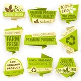 Ecology green origami paper banners. Eco natural organic product sale tags and badges vector set. Organic tag sale, banner natural eco illustration Royalty Free Stock Photos