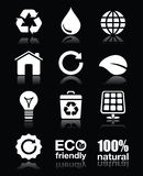 Ecology, green, recycling  white icons set on black Royalty Free Stock Photography