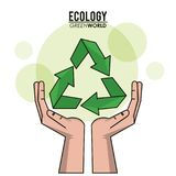 Ecology green world hand recycle symbol. Vector illustration Royalty Free Stock Image
