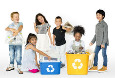 Ecology group of children separate trash for recycle royalty free stock image