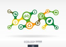 Ecology. Growth abstract background with connected metaball and integrated icons. For eco friendly, energy, environment, green, recycle, bio and global concepts Royalty Free Stock Images