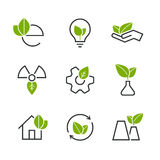 Ecology half colored vector icon set Royalty Free Stock Images