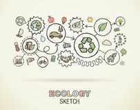 Ecology hand draw integrated icons Royalty Free Stock Photos