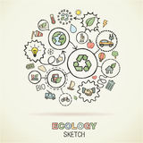 Ecology hand draw sketch icons Royalty Free Stock Photography