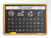 Ecology hand drawing line icons. chalk sketch sign illustration on blackboard Stock Photography