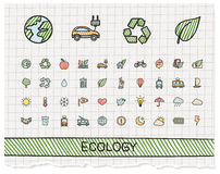 Ecology hand drawing line icons. Vector doodle pictogram set: color pen sketch sign illustration on paper with hatch symbols: energy, eco friendly, environment Stock Photo