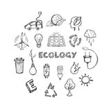 Ecology Hand Drawn Icons Set. Of alternative energy climate protection and environment save isolated vector illustration Royalty Free Stock Photos