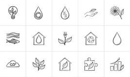 Ecology hand drawn sketch icon set. Stock Photo
