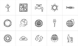 Ecology hand drawn sketch icon set. Royalty Free Stock Photography