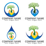Ecology, hand, tree and water concept Logo Stock Photos
