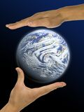Ecology, hands, responsibility. Nail, skin, finger, palm Royalty Free Stock Photo