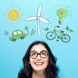 Ecology with happy young woman. On a blue background Stock Image