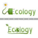Ecology Headline Logos. Ecology headline logo in two different versions, with water drops, green energy symbol, a leaf and the globe. Eps file available vector illustration