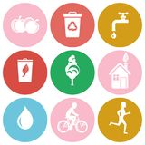 Ecology and Health Protection Isolated Round Icons. Ecology and health protection symbols in circles with healthy lifestyle, recycling and saving water isolated Royalty Free Stock Photos