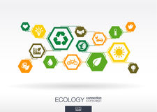 Ecology. Hexagon abstract background. With lines, polygons, and integrate flat icons for eco friendly, energy, environment, green, recycle, bio and global Stock Photos
