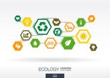Ecology. Hexagon abstract background Stock Photos