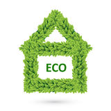 Ecology home icon of green leaves Royalty Free Stock Image