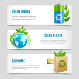 Ecology Horizontal Banners In Paper Design. With green energy clean planet and eco home realistic signs vector illustration Stock Illustration