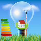 Ecology house with energetic classes vector illustration