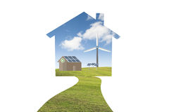Ecology house and solar, windmill, recycle, family. Royalty Free Stock Photo