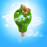 Ecology of housing. Bulb covered with grass. eco-friendly housing vector illustration