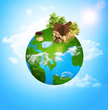 Ecology of housing. Improvised globe with green continents. eco-friendly housing stock illustration