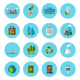 Ecology Icon Flat Set. Ecology Flat Set colored icons in circles  with equipment and different accessories about ecology vector illustration Royalty Free Stock Images
