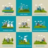 Ecology Icon Flat Set Stock Image