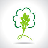 Ecology icon with green leaf Royalty Free Stock Photography