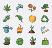 Ecology icon set. Hand drawn  icon set Stock Photos