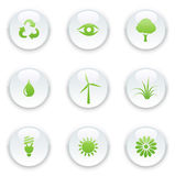Ecology icon set. Vector illustration of green ecology icon set Stock Photography