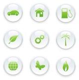 Ecology icon set. Vector illustration of green ecology icon set Stock Images