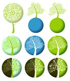 Ecology icon with tree and planet Stock Photography