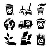 Ecology icon set black and white Royalty Free Stock Photography