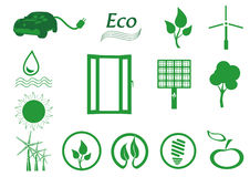 Ecology icon set. Eco-icons. Royalty Free Stock Images