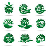 Ecology icon set. Eco-icons. Packing and a set of icons that can be used in all kinds of natural products Stock Photography