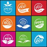 Ecology, icon set. Eco-icons. Packing and a set of icons that can be used in all kinds of natural products Royalty Free Stock Photo