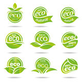 Ecology, icon set. Eco-icons. Packing and a set of icons that can be used in all kinds of natural products Royalty Free Stock Images