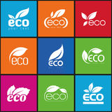 Ecology, icon set. Eco-icons. Packing and a set of icons that can be used in all kinds of natural products Stock Photos