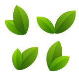 Ecology icon set. green leaves Royalty Free Stock Image
