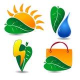 Ecology Icon Set One Stock Photo
