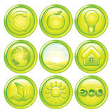 Ecology Icon Set. Set of Green Eco Buttons. Vector Stock Photos