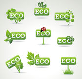 Ecology icon set. Set of green labels with leaves  Stock Photos