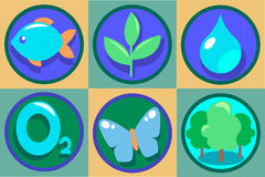 Ecology Icon Set. Vector Eco illustrations. Pure drop of water, oxygen, green forest, growing plant. Stock Image