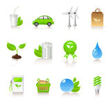Ecology icons. Colorful ecology icons on white background Royalty Free Stock Photography
