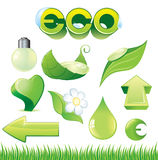 Ecology icons. Ecological detailed vector symbols -light bulb,flower, heart, leafs, drops, arrows etc- vector will be additional stock illustration