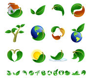 Ecology Icons. Green Ecological icon set. isolated over white Stock Images